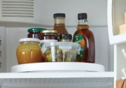 use lazy susans to make items accessible in your fridge