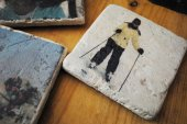 photo travertine coasters